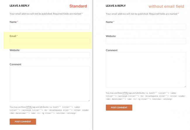 Remove email from a wordpress comment form